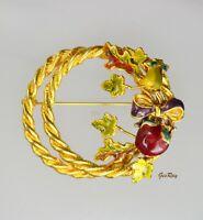 Vintage Enamel Wired Flower Wreath Brooch Gold Tone Pin
