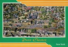 Aerial View of Port Chester, New York, Main Street, Train Station etc - Postcard
