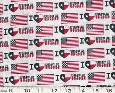 American FLAG Flags I LOVE USA Patriotic quilt Fabric