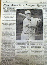 1933 New York Times newspaper JIMMY FOXX sets AL RBI record of 9 in 1 game