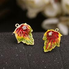Women Elegant Fashion Earrings Ear Stud Crystal Copper Enamel Red Leaf Jewelry