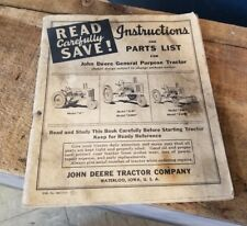 VINTAGE DEERE GENERAL PURPOSE TRACTOR INSTRUCTIONS AND PARTS LIST 1940