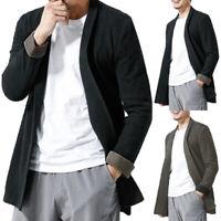 Summer Mens Long Sleeve Causal Baggy T shirt Linen Cotton Causal Formal Cardigan