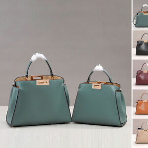 Real Leather Trapezoid Twist-Lock Tote Shoulder Bag Purse Crossbody Top Handle