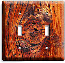 RUSTED OLD WOOD EYE RUSTIC DOUBLE LIGHT SWITCH WALL PLATE KITCHEN LOG CABIN DECO