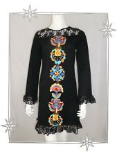C - Superbe Robe Fantaisie noire Broderie Dentelle Savage Culture Taille S