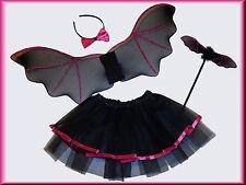 KOSTÜM Fledermaus Tutu-Rock Flügel Zauberstab Haarreif 104-110-116-122 4-8 Jahre