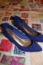 Marks & Spencer Royal Blue Kitten Heel Shoes womens size 5.5 excellent condition