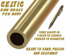 One (1) Ready To Finish Raw Brass Celtic Ballpoint Pen Body / Blank #120