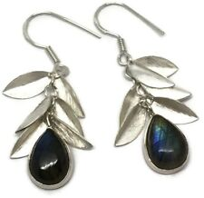 Real labradorite long drop earrings, solid Sterling Silver, New, actual ones.