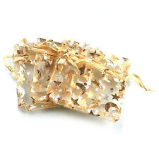 50x Yellow Star Moon Patterns Organza Gift Bags Wedding Jewlery Craft Package BS
