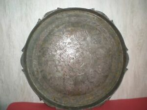 Unique handmade copper plate decorated with Arabic ornaments from the 18-19th c.