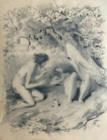 Old Pencil Antique Drawing - Dessin Ancien - Couple, Nude, Bubble
