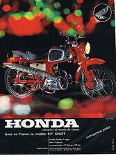 PUBLICITE ADVERTISING 084  1965  HONDA  moto 50cc champion du monde de vitesse