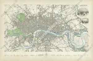Victorian London antique historical map guide SDUK Clarke 1835 art print poster