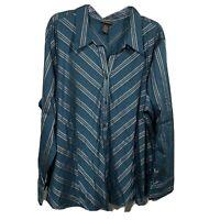 Lane Bryant Blue Striped Button Down Top Shirt Blouse Womens L/Sleeve Size 26/28