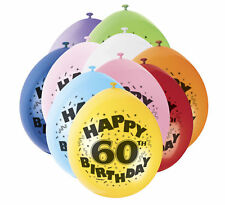 """60th Birthday 9"""" Latex Balloons - 10 Pack - Mixed Colours Party Air Fill"""