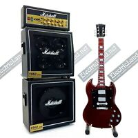 Mini Guitar AC/DC Angus Young sg + Amplifier Amp scale 1:4 miniature collectible