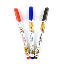 San-X Rilakkuma Fine Point Waterproof Permanent Marker Pen 3 Colors Set