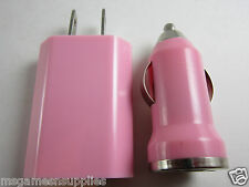 Pink 2-in-1 VALUE PACK LONG USB AC Wall Charger + USB Car Charger for all Phones