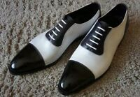 Mens Handmade Shoes Two Tone Black & White Leather Spectator Formal Casual Boots