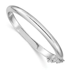 """.925 Sterling Silver Rhodium Plated 4mm Polished Hinged Child's Bangle 5"""""""