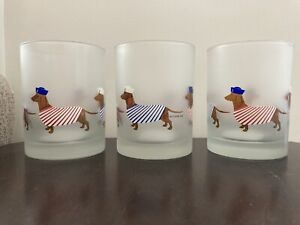 Culver Dachshund Frosted Glasses Nautical- set of 3