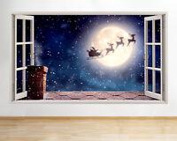 C724 Santa Sleigh Reindeer Night Window Wall Decal 3D Art Stickers Vinyl Room
