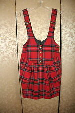 Betsey Johnson RARE Red Black Multi-Color Plaid Tartan Jumper Tunic Dress 4