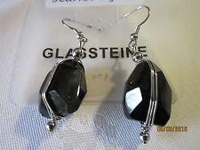 Ohrhänger--wunderschön---silberfarben mit schwarzem Glasstein