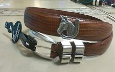 Leather Lizard Skin Belt Size 28 with Horseback Riding Conchos