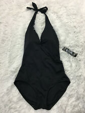 Carmen Marc Valvo Swimwear 8 One Piece Black Halter V-Neck Swim Bathing Suit New