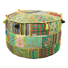 Bohemian Round Patchwork Embroidered Cotton Sari 22Inch Pouffe Ottoman Cover