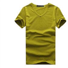 Plain Design Men's V-Neck T-shirt Short Sleeve Stylish Pure Color Basic Tee Tops