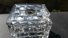 """RARE FOSTORIA AMERICAN CRYSTAL SQUARE HAIR RECEIVER WITH (AS-IS LID) 2 3/4"""" TALL"""