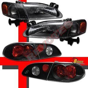 Black Headlights Corner Signal Lights + Tail Lights For 98 99 00 Toyota Corolla