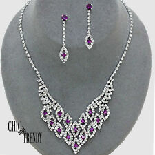 CLEARANCE PURPLE & CLEAR CRYSTAL WEDDING FORMAL NECKLACE JEWELRY SET CHIC TRENDY