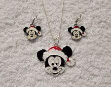 Mickey Mouse Santa Inspiré Grand Charme Collier & Boucles d'oreille père noël