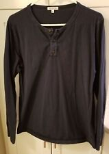 Lot of Two Gustin Men's Shirts Henley and Crew Long Sleeve M Medium Made in USA