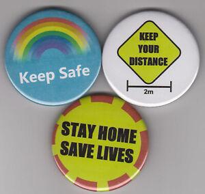 Set of 3 pin badges or fridge magnets for virus pandemic 2020 health NHS