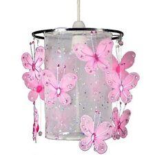 L Rosa Tröpfchen Schmetterling Pendelleuchte Schirm Voile Juwelenbesetzt Girl