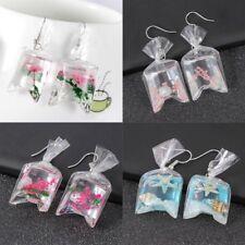 Novelty Women Girl Transparent Water Bag Dangle Hook Earrings Funny Jewelry New