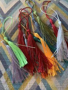 Silk Tassles / Tassels X12 - Assorted Colours - Bookmarks Keyrings Crafts