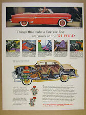 1954 Ford Crestline SUNLINER Convertible red car photo vintage print Ad