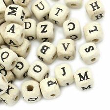 Madera Letras Cubo 10mm 300x Alfabeto Mezcla o 10xa E i o u Perlas