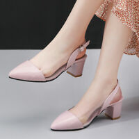 Women Sandals Ankle Strap Strappy Pointed Toe Slingback Block Heel Pumps Shoes