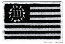 III PERCENTER BLACK FLAG PATCH embroidered iron-on 2nd AMENDMENT 3% GUN RIGHTS