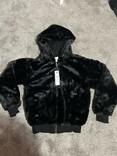 Black Furry Bomber Jacket Topshop Xs / Small BNWT