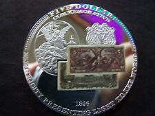 """1896 FIVE DOLLAR SILVER CERTIFICATE 2"""" SILVER-PLATED BRONZE MEDALLION"""