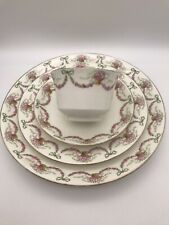 More details for aynsley ribbons bows & swags of roses  trio, cup, saucer, tea & cake plate a968d